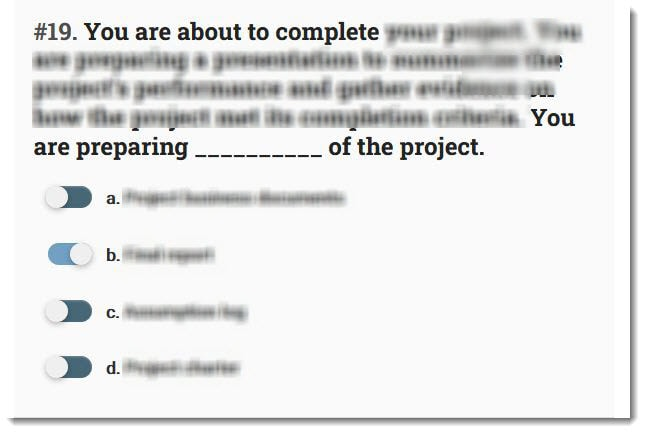 master of project academy simulator sample question