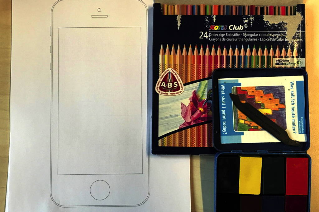 Age of Product: App prototyping with beginners tools: pencils, iPhone stencil, wax crayon